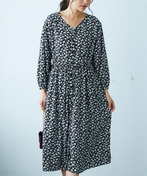 花柄プリントウエストドロストロング丈ワンピース (ワンピース)Dress