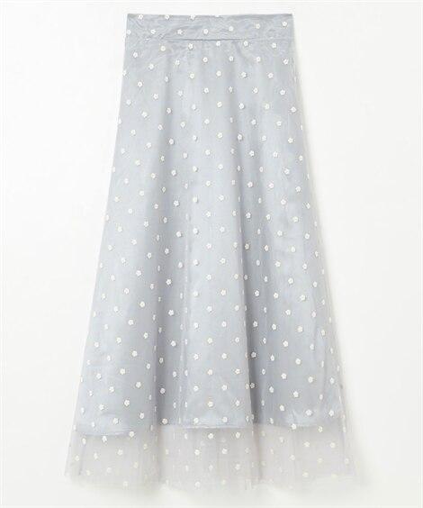 花柄ドット風刺繍がかわいい♪チュール重ねフレアスカート (ロング丈・マキシ丈スカート)Skirts