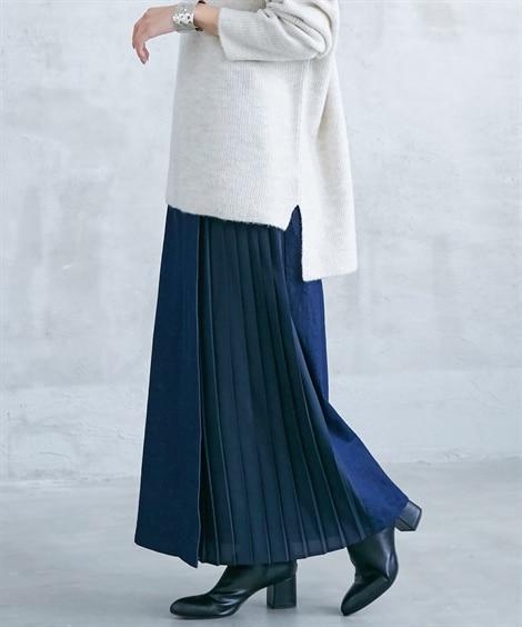 サイドプリーツ切り替えデニムロング丈スカート (ロング丈・マ...