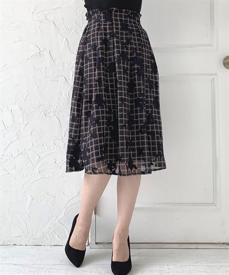 花柄プリント×チェック柄がかわいいフレアスカート (ひざ丈ス...