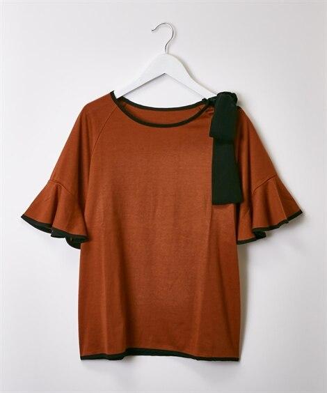 バイカラーリボン使いがかわいい♪フレア袖トップス (Tシャツ...