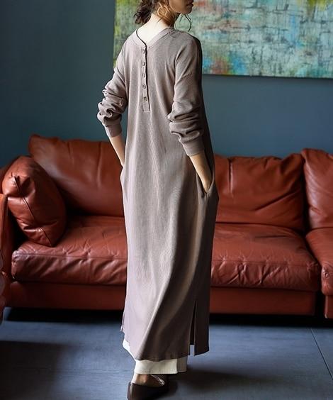 前後2WAYワッフルロングワンピース (ワンピース)Dress