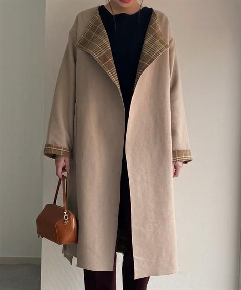 Wフェイス配色ガウンコート (コート)(レディース)Coat