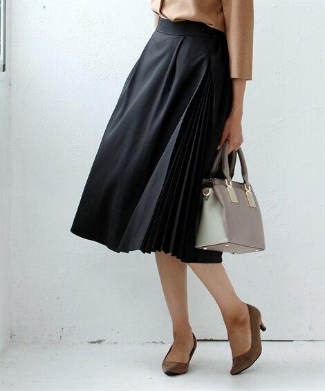 サイドプリーツスカート(セットアップ対応) (ひざ丈スカート...