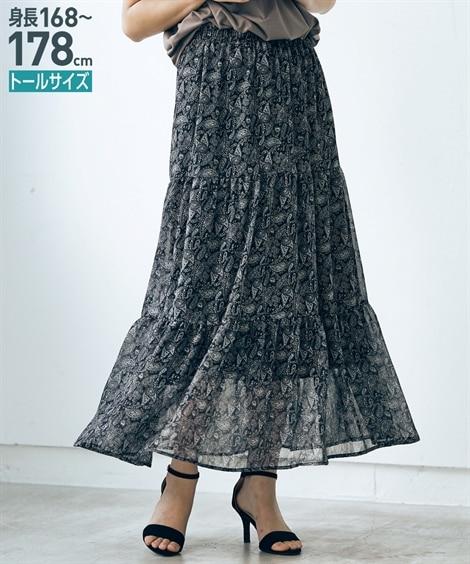 トールサイズ シフォン楊柳ペイズリー柄マキシスカート ロング...