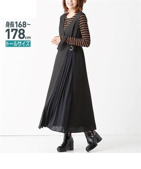 トールサイズ シフォンプリーツ切替マキシジャンパースカート 【高身長・長身】ジャンスカ, tall  size, Dress