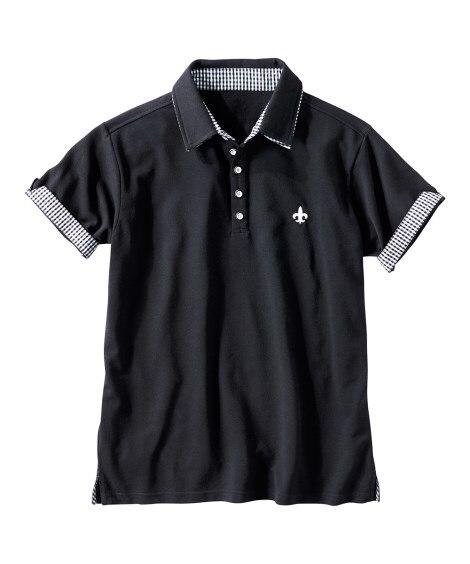二重衿デザイン半袖ポロシャツ ポロシャツ