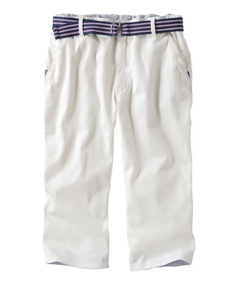 7分丈脇ゴムパンツ(ベルト付) イージーパンツ, Pants