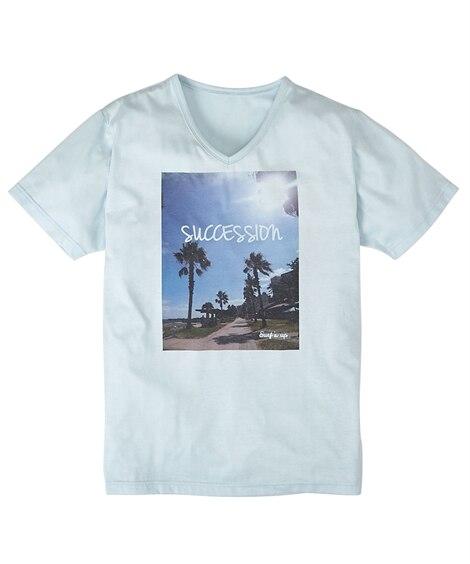 転写プリントVネック半袖Tシャツ(ビーチサイド) Tシャツ・...