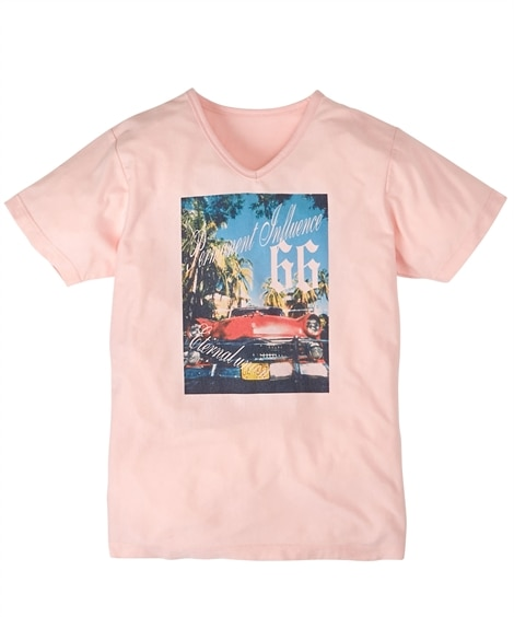 転写プリントVネック半袖Tシャツ(オープンカー) Tシャツ・...
