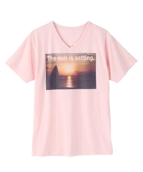 転写プリントVネック半袖Tシャツ(サンセット) Tシャツ・カットソー, T-shirts,