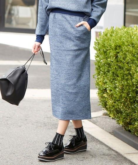 【大きいサイズ】 まるでニット!軽量ストレッチ裏起毛ロングスカート スカート, plus size skirts