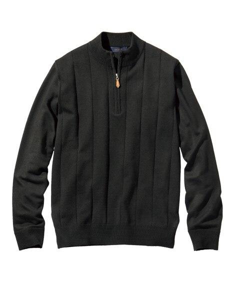 洗濯機で洗える薄手ハーフジップセーター (ニット・セーター)...