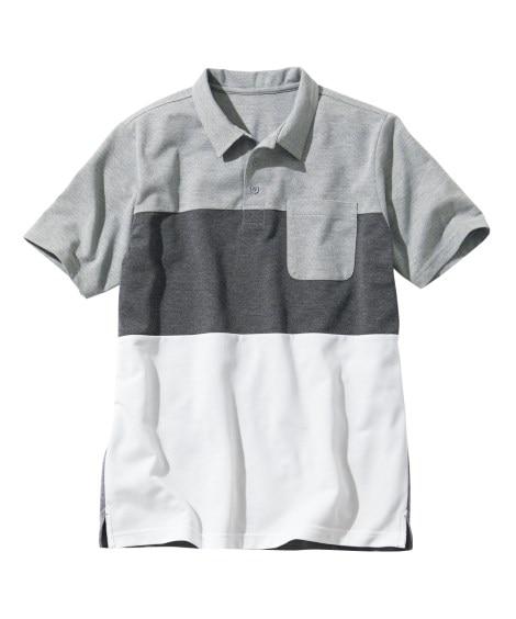 半袖切替ポロシャツ ポロシャツ, Tops