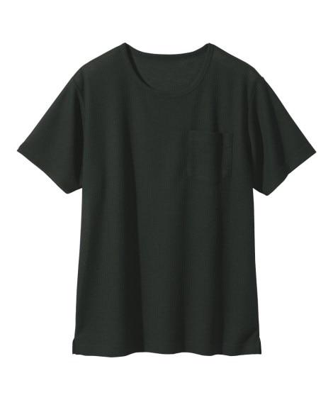 ポケット付ワッフルクルーネック半袖Tシャツ Tシャツ・カットソー, T-shirts,