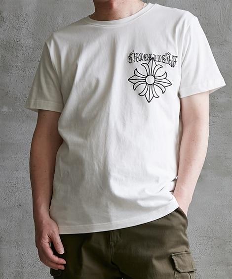 綿100% 紋章プリント半袖Tシャツ Tシャツ・カットソー, T-shirts,