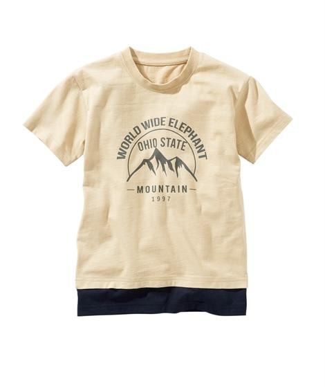 綿100%夏の重ね着風プリントTシャツ(男の子・女の子 子供服・ジュニア服) (Tシャツ・カットソー)Kids' T-shirts