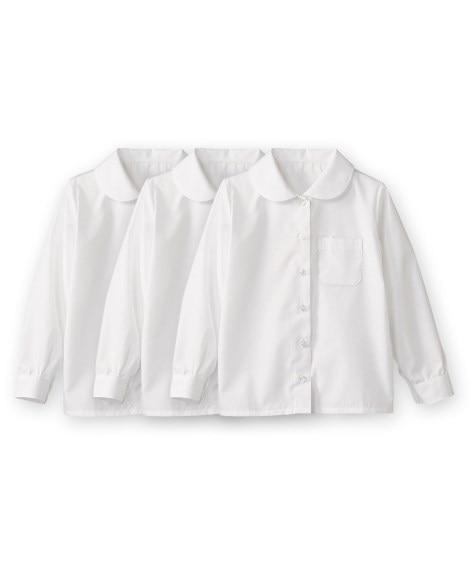 【子供服】 形態安定。丸衿。長袖スクールブラウス3枚組(女の...