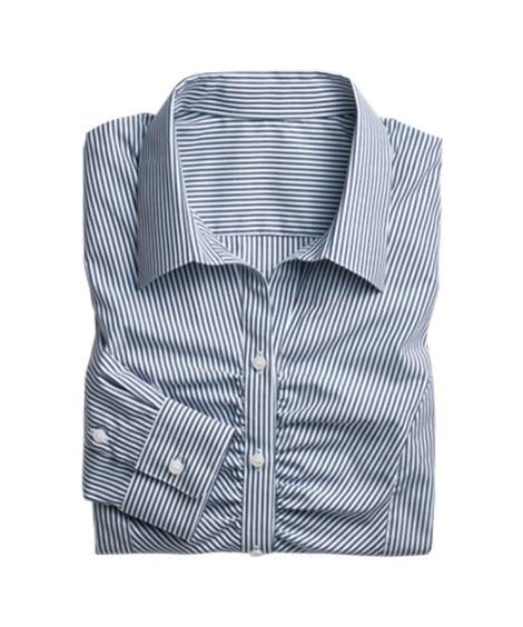 小さいサイズ 形態安定ストライプ胸ギャザースキッパーシャツ