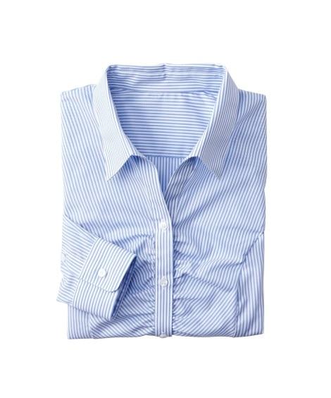 小さいサイズ 形態安定ストライプ胸ギャザースキッパーシャツ ...