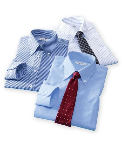 抗菌防臭。形態安定長袖ワイシャツ3枚組(ボタンダウン) 大き...