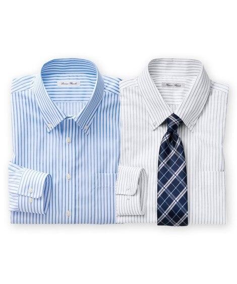 おまかせ形態安定ワイシャツ2枚組(ボタンダウン) 大きいサイ...