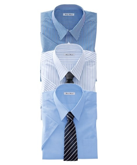 抗菌防臭。形態安定半袖ワイシャツ3枚組(ボタンダウン)(標準...