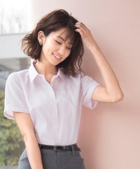 形態安定ドビー織レギュラーカラー半袖パフスリーブシャツ(レギ...