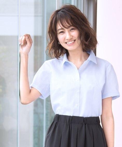 形態安定ドビー織レギュラーカラー半袖パフスリーブシャツ(ゆっ...