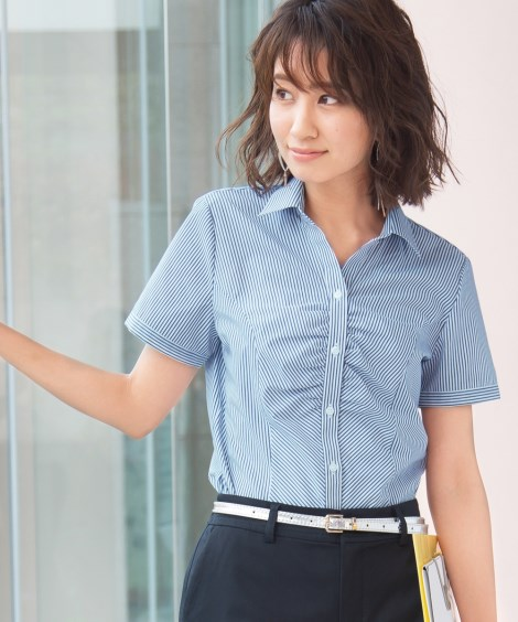 形態安定ストライプ柄胸ギャザースキッパー半袖シャツ(ゆったり...
