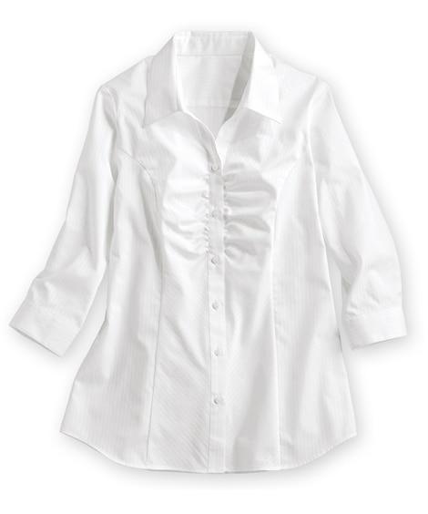 形態安定ドビー織胸ギャザー7分袖シャツ(ゆったりバスト) (...