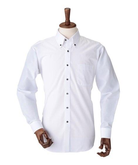 形態安定長袖サテンテープ使いデザインワイシャツ(ボタンダウン...