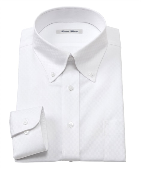 形態安定長袖ワイシャツ(ボタンダウン)(すっきりシルエット)...