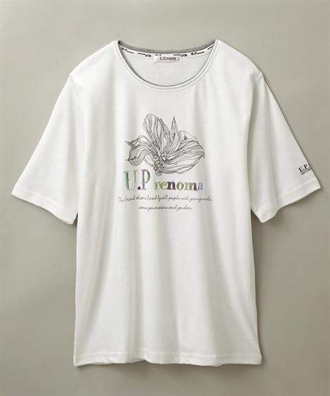 【U.P renoma】UV対策 スパンコール付5分袖Tシャ...