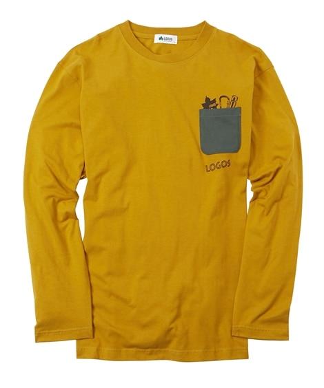 LOGOS(ロゴス)綿100%ポケット付きプリント長袖Tシャツ 大きいサイズメンズ Tシャツ・カットソー, T-shirts,
