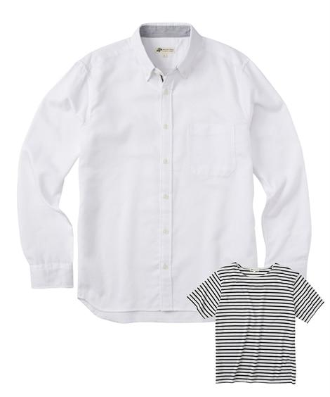 2点セット(マイクロワッフルドビー長袖シャツ+半袖ボーダーTシャツ/Natural Story(ナチュラルストーリー) カジュアルシャツ, Shirts,