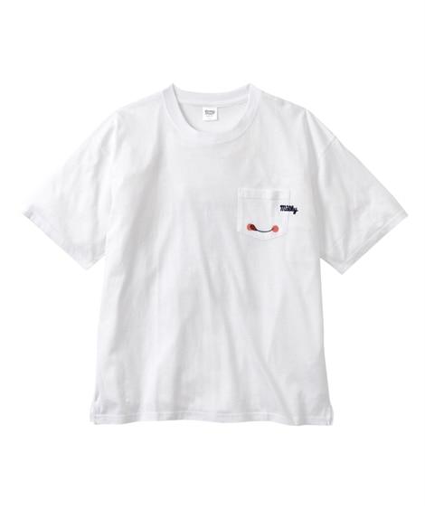 Peco(ペコ) 綿100%レトロプリントポケット付き半袖クルーネックTシャツ Tシャツ・カットソー, T-shirts,