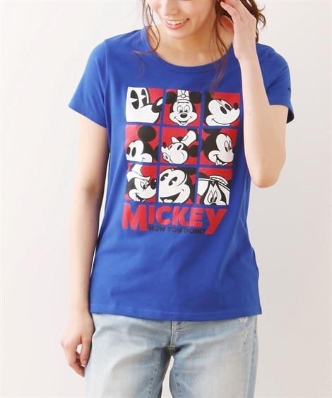ディズニー ミッキー半袖プリントTシャツ (大きいサイズレデ...