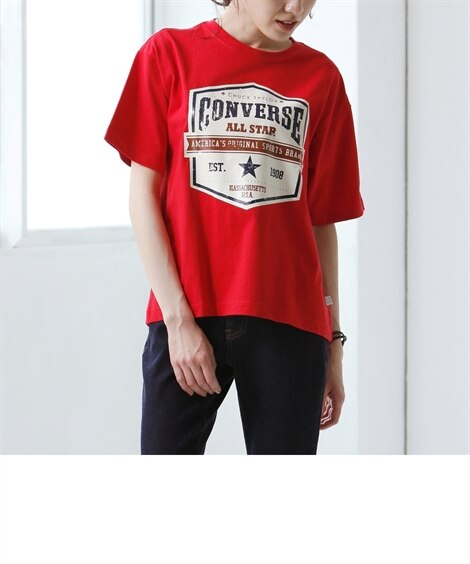 コンバース カレッジロゴプリントTシャツ (大きいサイズレデ...
