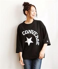 <ニッセン> コンバース 綿100%7分袖ロゴゆるシルエットTシャツ。ニッセンオリジナル。 (大きいサイズレディース)Tシャツ・カットソー 1