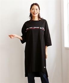 <ニッセン> コンバース 綿100%7分袖ロゴゆるシルエットTシャツ。ニッセンオリジナル。 (大きいサイズレディース)Tシャツ・カットソー 2