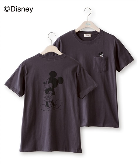 大きいサイズ ディズニー ミッキー半袖ポケ付バックプリントTシャツ ,スマイルランド, plus size T-shirts,