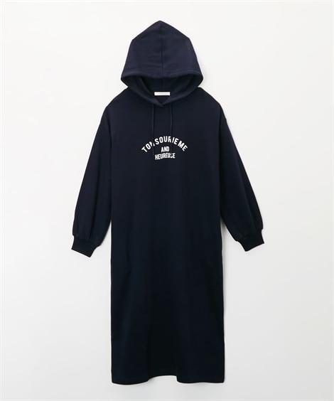 ロゴプリントパーカーワンピース (ワンピース),dress