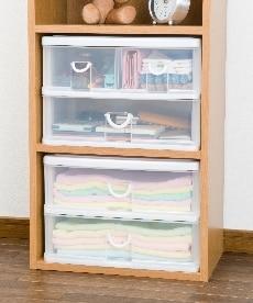カラーボックスにピッタリな収納ケース(エルピス パールホワイト) 衣装ケース・プラスチックケース・押入収納の商品画像