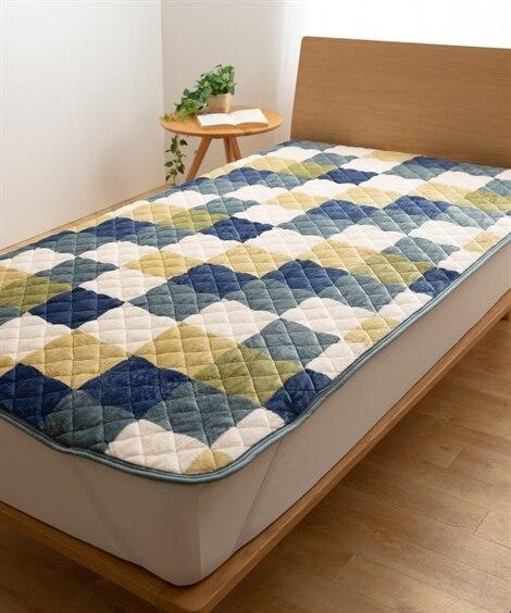 プレミアムマイクロファイバー敷パッド チェック柄 敷きパッド・ベッドパッドの写真