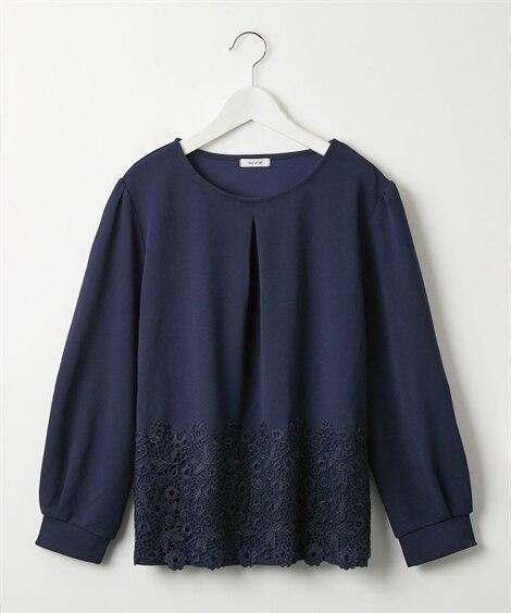 裾レース使いブラウス見えカットソー (Tシャツ・カットソー)...