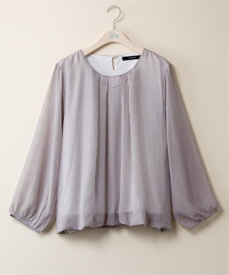 抗菌防臭 シフォンストライププリントブラウス【N.y.ou】 (大きいサイズレディース)Shirts, ?衫, 襯衫, plus size