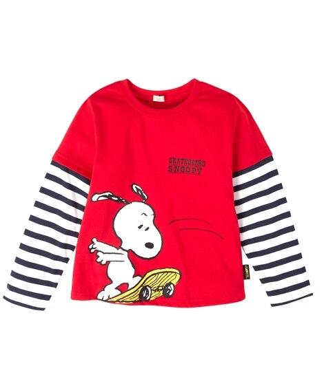 【スヌーピー】フェイクレイヤード長袖Tシャツ(男の子 女の子...
