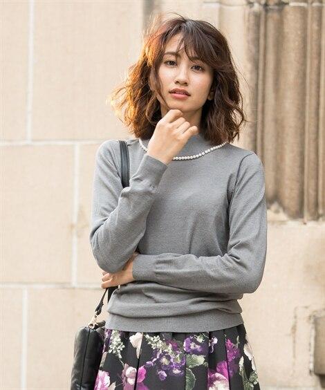 衿パール調ビーズ付ハイネックセーター (ニット・セーター)(...