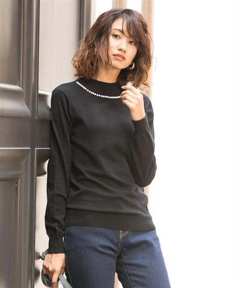 衿パール調ビーズ付ハイネックセーター (ニット・セーター)